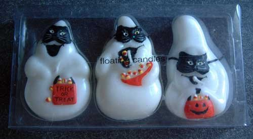 Ghost Mask Goody Treat Bag Glitter Halloween Floating Candles Set/3 NIP