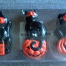 Cat Black Mask Pumpkin Glitter Halloween Floating Candles Set/3 NIP