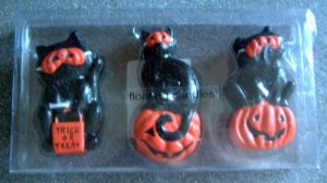 Cat Black Mask Pumpkin Glitter Halloween Floating Candles Set/3 NIP