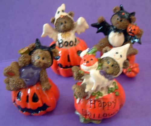 Halloween Bear Pumpkin Costumes Holiday Decor Set/4