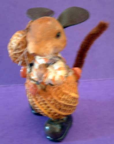 Mouse Peanut Shelled Resin and Leather Decor NEW