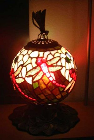 Tiffany Table Lamp Stain Glass Dragonfly Design MINT BEAUTY!
