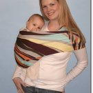 Multi colored swirl print stretch sateen baby sling