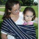 Navy/white stripe stretch twill baby sling