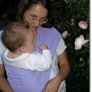 Lavender stretch twill baby sling with leg padding