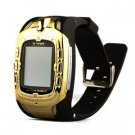 Golden Quad-band Cell Phone Watch with 1.3 inch Touch Screen +FM Radio MP3 Player GPRS and Stereo Bl