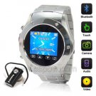 W968 New Quad Band Stainless Steel Wrist Watch Phone With Camera Sliver