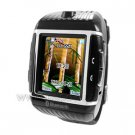 W08 Watch Phone With Bluetooth Cell Phone & Camera & Waterproof Watch Mobile Phone- black with silve