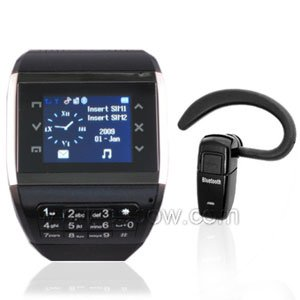 1.5 inch Watch Phone Mobile Phone With 1.3M Camera Black