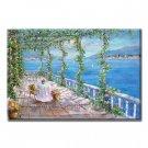 Handmade Oil Painting - Romantic Mediterranean Sea - 48 inch x 72 inch