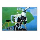 Handmade Oil Painting with Cyclists 24 inch x 36 inch