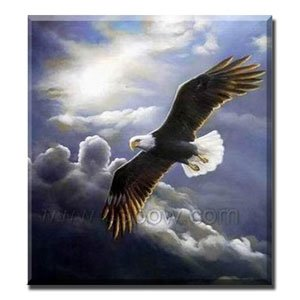 Handmade Animal Oil Painting on Canvas - Magnificent Eagle 24 inch x 20 inch