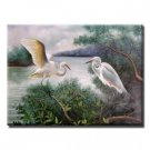 Handmade Animal Oil Painting on Canvas - Two Swans 24 inch x 20 inch