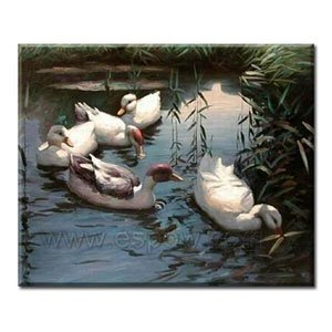 Handmade Animal Oil Painting on Canvas - Four Ducks 24 inch x 20 inch