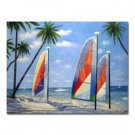 48 inch x 72 inch Oil Painting A Trio Of Sail Boats