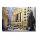 Oil Painting A Bustling Day On Wall Street 48 inch x 72 inch