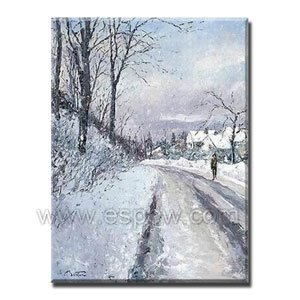 Handmade Modern Oil Painting with The Winter Street 24 inch x 36 inch