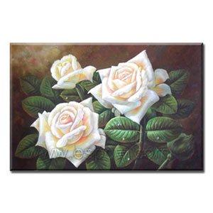 Handmade Oil Painting - White Rose - 30 inch x 40 inch