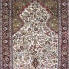 2.5'x4'Small Red Hand Knotted Silk Area Rug/Carpet