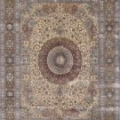 8'x10'Beige Floral Hand Knotted Nain Oriental Silk Area Rug/Carpet