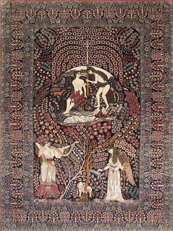 2'x3'Small Red Angel Hand Knotted Silk Area Rug/ Tapestry