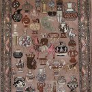 1.5'x2'Brown Hand Knotted Vases Silk Area Rug/Mat