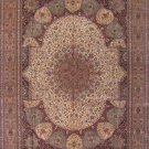 9'x12'Beige Floral Hand Knotted Isfahan Oriental Silk Area Rug/Carpet