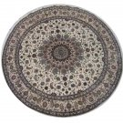 5'x5'Beige Hand Knotted Persian Ortiental Round Silk Area Rug/Carpet