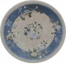 4'x4'Blue Floral Hand Knotted Chinese Round Silk Area Rug/Carpet