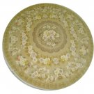 10'x10'Beige Hand Knotted Chinese Round Silk Area Rug/Carpet