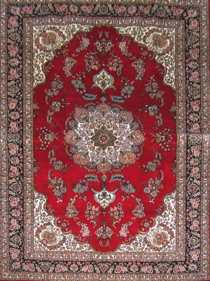 4'x6'Red Hand Knotted Traditional Kerman Silk Area Rug/Carpet