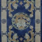 4'x6'Blue Hand Knotted Chinese Dragon Silk Area Rug/Carpet 64