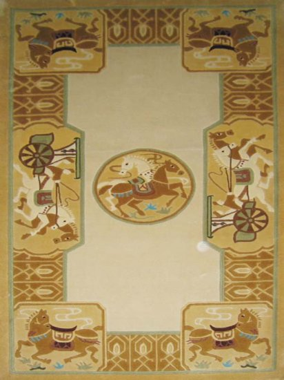 3'x5'Golden Horse Hand Knotted Chinese Silk Area Rug/Carpet 102