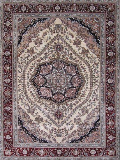 4'x6' Beige Plain Hand Knotted Kerman Silk Oriental Area Rug/Carpet