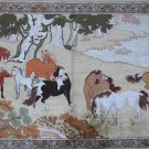 4'x2' Ten Horses Hand Knotted Oriental Silk Area Rug/Tapestry  54