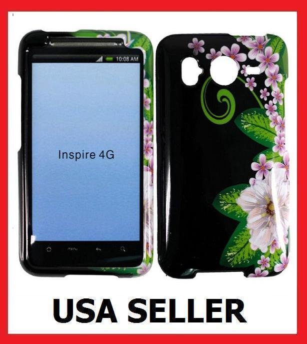 HTC Inspire 4G Faceplate Hard Cover Case GREEN FLOWER