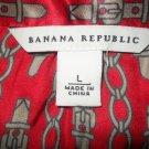 Banana Republic Silk Red Chain Blouse Shirt Top L Large