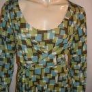 Cynthia Steffe Geometric Green Blue Faux Wrap Dress XL