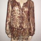 CAbi Gorgeous Animal Print Brown Silk Shirt Top S Small
