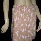 $225 Trina Turk Retro Print Pink Brown Mini Skirt 2 XS