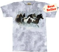 Winter Run  Horse T-Shirt by The Mountain 2XL,3XL