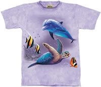 Friends of the Earth Dolphin & Sea Turtle T-Shirt by The Mountain 2XL 3XL