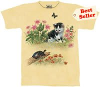 Turtle Crossing Kitten T-Shirt by The Mountain M L XL