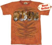 Four Cat Portrait  Tiger Lion Cheetah T-Shirt by The Mountain M L XL