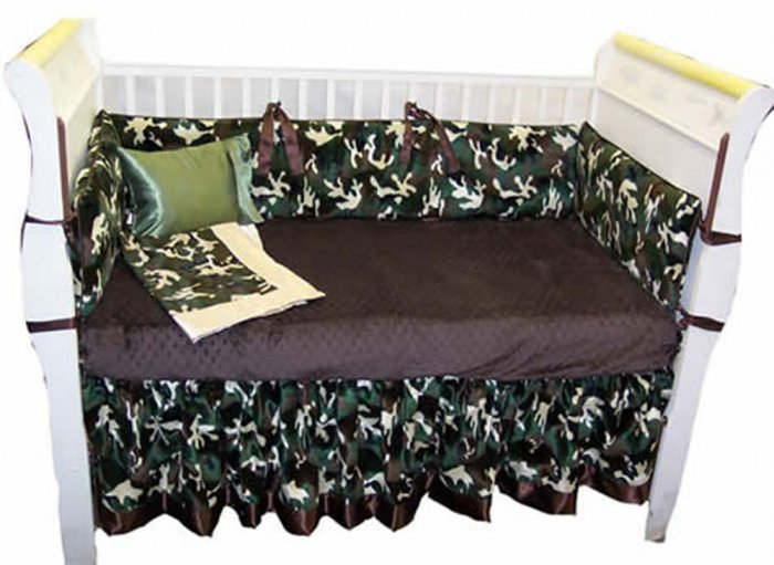 Custom Handmade 4 Piece Camouflage Baby Bedding Set