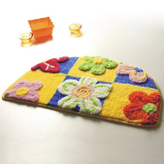 Yellow / Blue Flowers Kids Room Rug