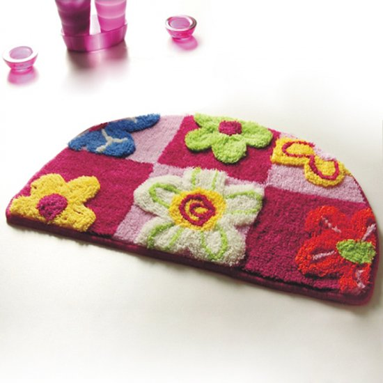 Red / Pink Flowers Kids Room Rug