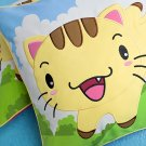 Kitty Meow Embroidered Applique Pillow Cushion / Floor Cushion