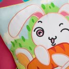 Bunny & Carrot Embroidered Applique Pillow Cushion / Floor Cushion