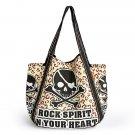 Rock Spirit 100% Cotton Eco Canvas Shoulder Tote Bag / Shopper Bag / Multiple Pockets
